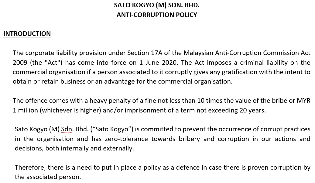 3 August 2020 – Anti-Corruption Policy